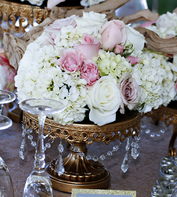 Blush and Champagne Luxury Wedding #Centerpiece -Keith Cephus Photography