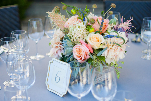 Wedding Centerpiece and table number - CathyStancilPhotography