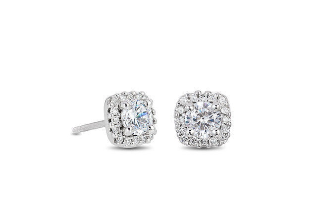 CUSHION HALO DIAMOND PLATINUM STUD EARRINGS