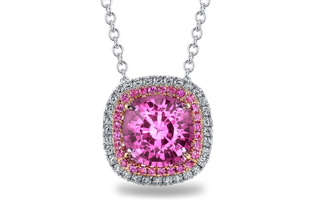 PINK SAPPHIRE AND DIAMOND DOUBLE HALO PLATINUM PENDANT