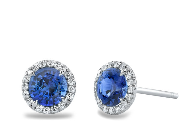 SAPPHIRE AND DIAMOND HALO STUD PLATINUM EARRINGS