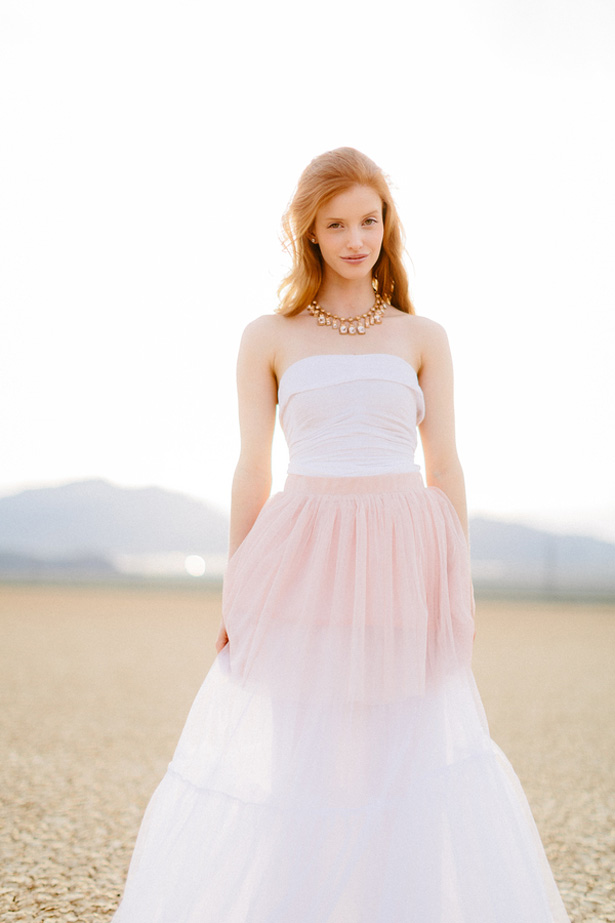 Bridal powder pink tulle skirt - Rewind Photography