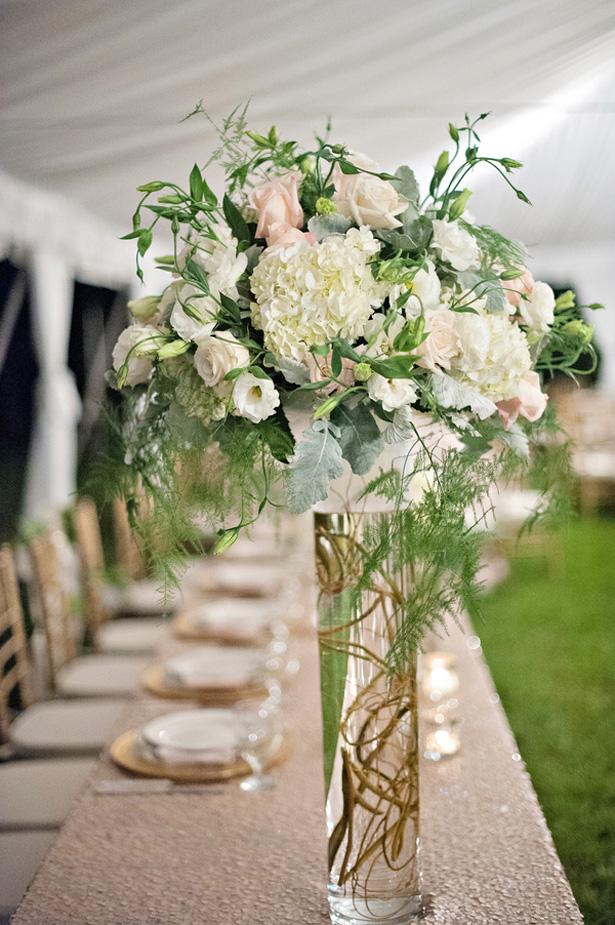 Tall wedding centerpiece - Kristen Weaver Photography