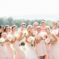 Powder pink bridesmaid dresses - Dan and Melissa