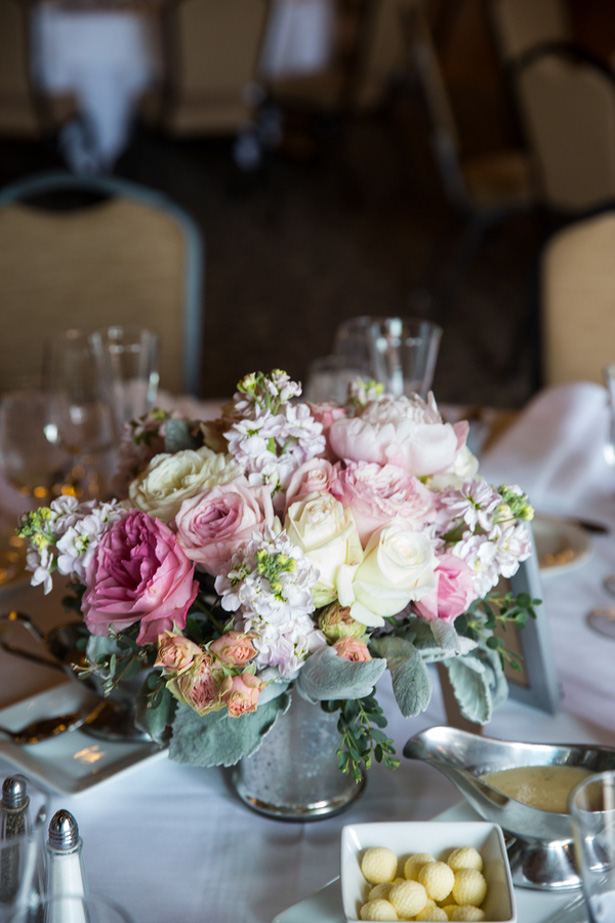 Wedding floral centerpice - Jeramie Lu Photography