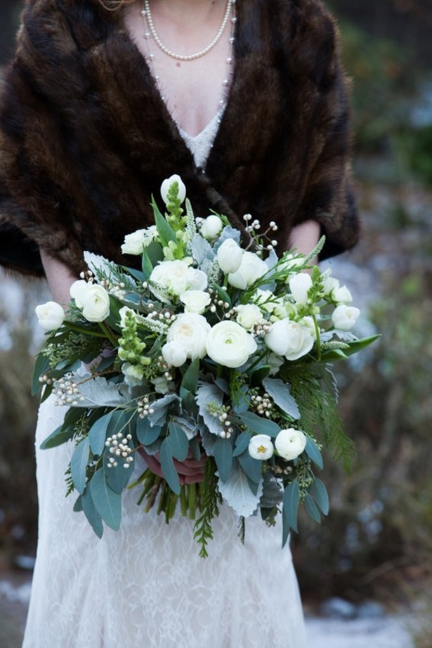 Winter Wedding bouquet - LLC Heather Mayer Photography