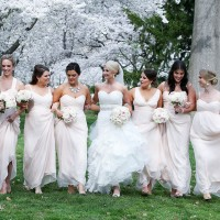 Powder pink bridesmaids dresses - Keith Cephus Photography
