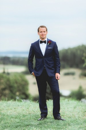 Groom's look , navy blue suite - Dan and Melissa