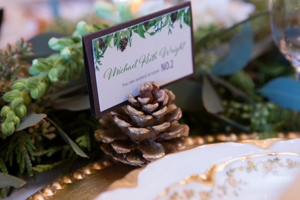 Winter Wedding place card - LLC Heather Mayer Photography