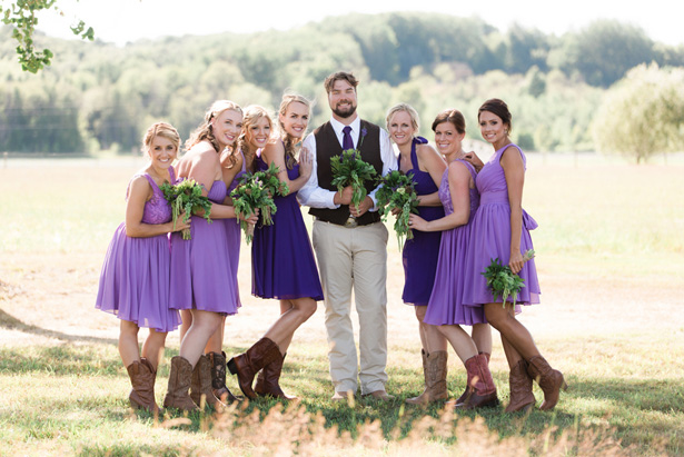 purple bridesmaids - Dan and Melissa
