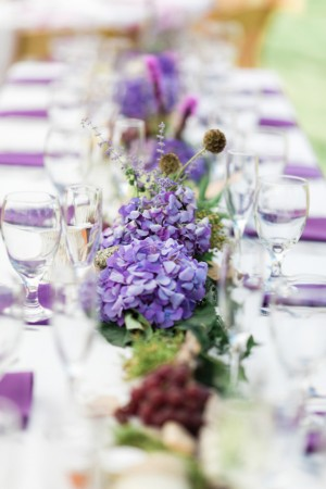 purple wedding table centerpiece - Dan and Melissa