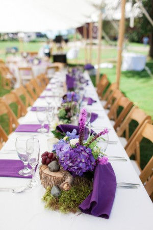 purple wedding table setup - Dan and Melissa