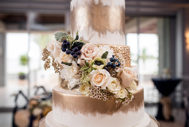 Gold wedding cake details -Stacy Anderson Photography