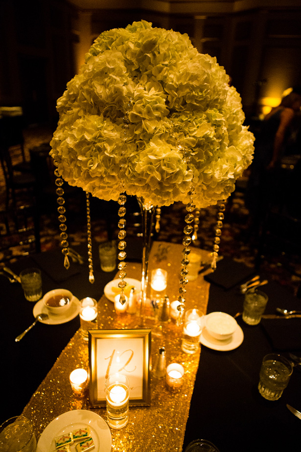 Gold wedding centerpiece - Shawna Hinkel Photography