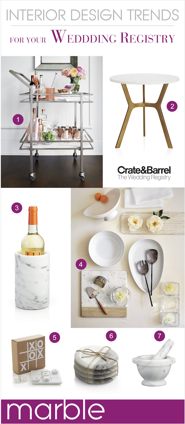 The Hottest Interior Design Trends for your Wedding Registry - Marble
