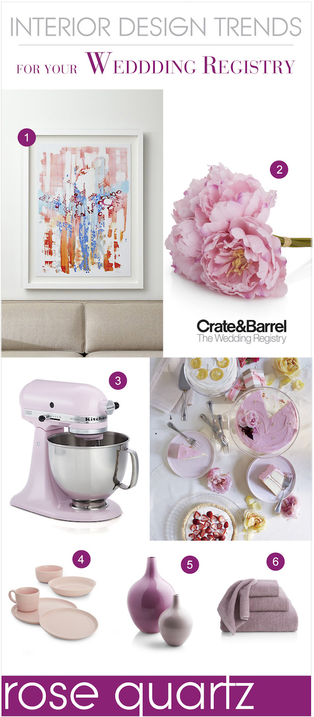 The Hottest Interior Design Trends for your Wedding Registry - Rose Quartz