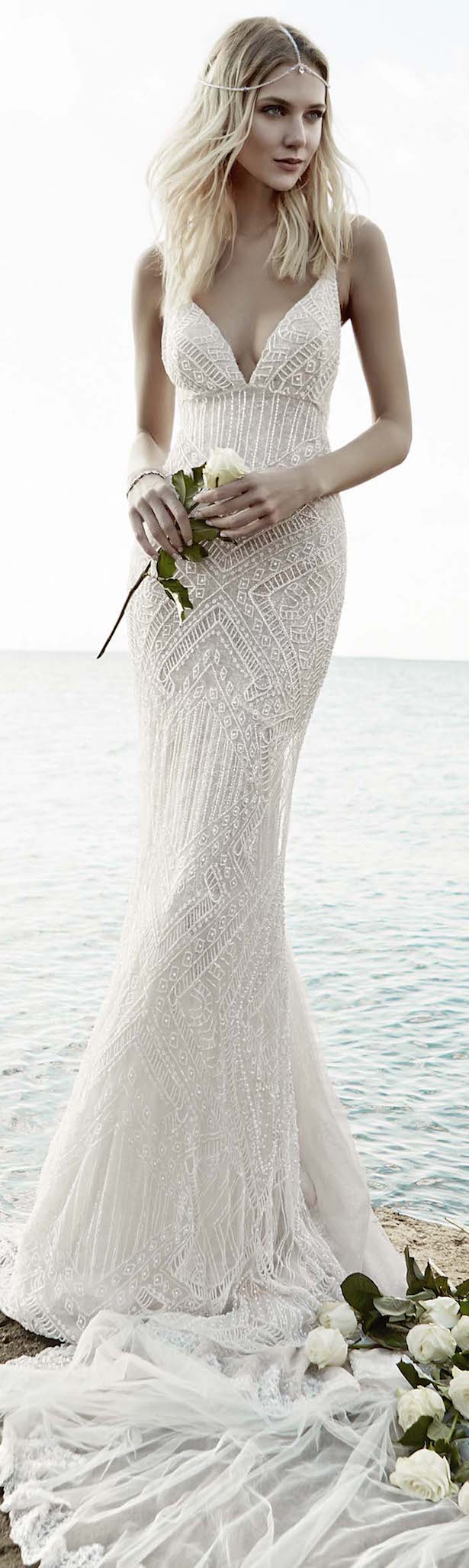 Victoria kyriakides bridal fall 2016 floral for Floral beach wedding dresses
