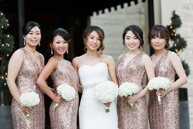 Rose gold sequin bridesmaid dresses - Leigh+Becca Photography