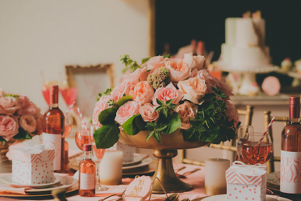 Pink and peach wedding centerpiece- Cristina Navarro Photography