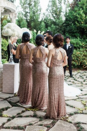 Rose gold sequin bridesmaids dresses - Leigh+Becca Photography