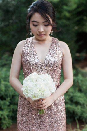 Rose gold sequin bridesmaid dress - Leigh+Becca Photography