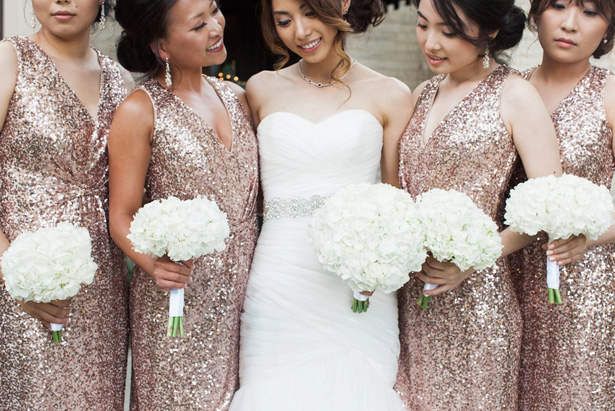 Gold sequin bridesmaid dresses - Leigh+Becca Photography