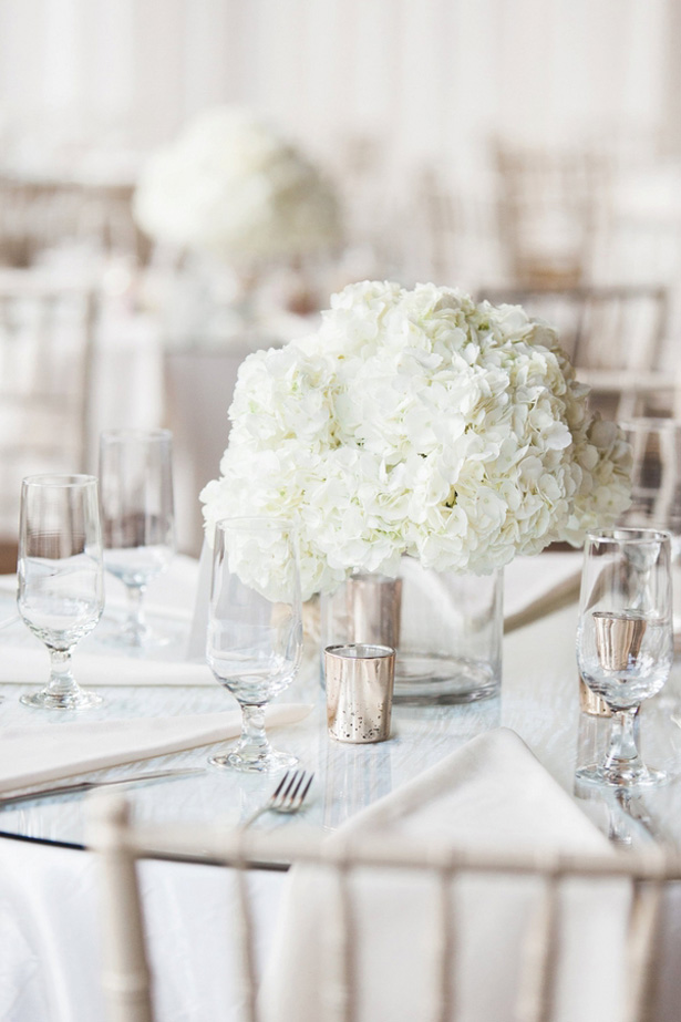 White Wedding centerpiece - Leigh+Becca Photography