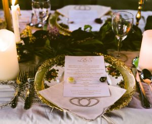 Vintage Wedding Place setting - Sage to Sea Film Photography