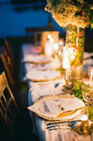 Wedding Tablescape with Place setting - Sage to Sea Film Photography