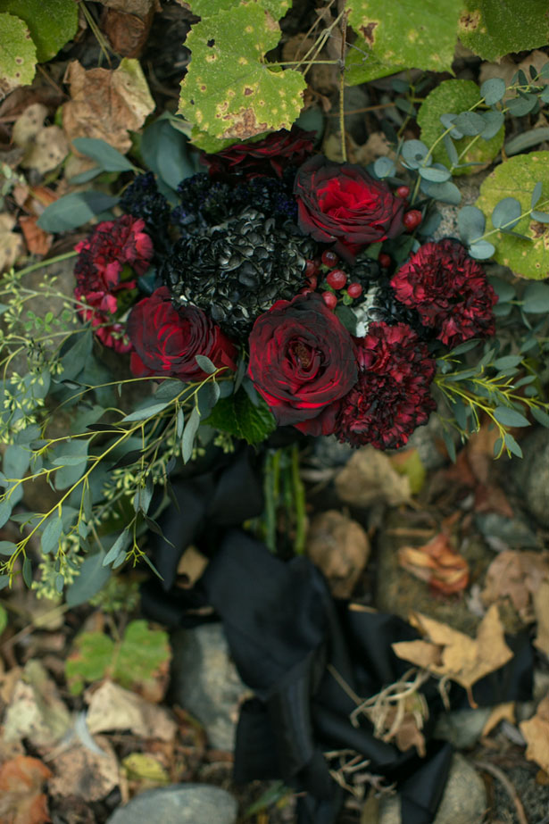 Black and red floral bouquet - Sweet Blooms Photography