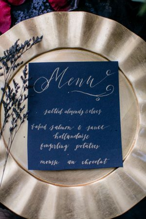 Black wedding menu - Sweet Blooms Photography