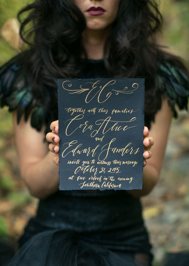 Black wedding invitation - Sweet Blooms Photography