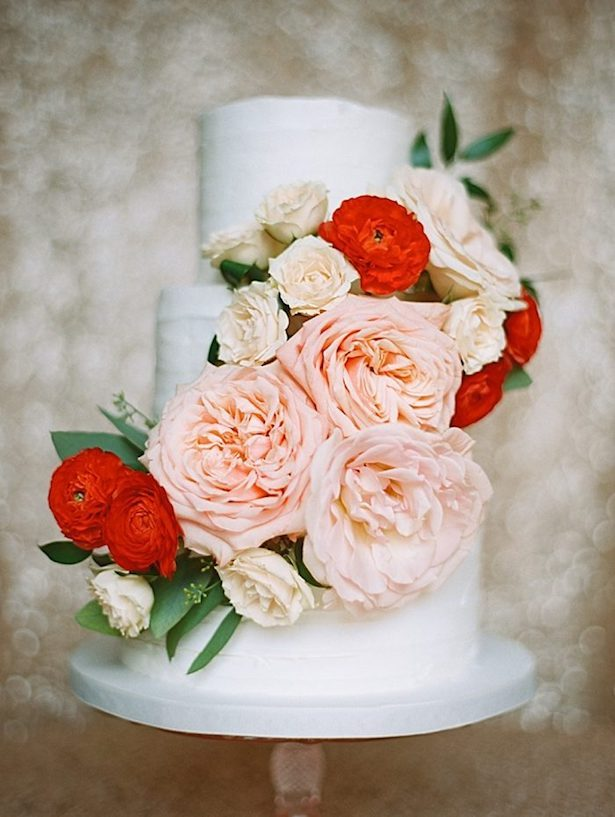 Romantic Floral Wedding Cake - Photography: Brumley And Wells