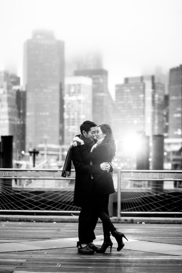 New York Skyline Winter Engagement Session