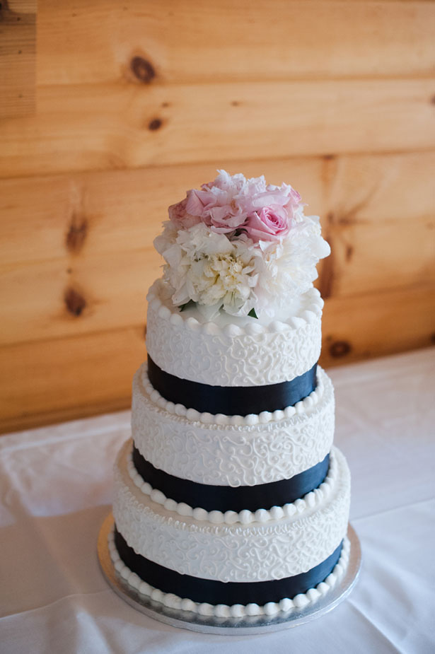 Navy and pink wedding cake - Skyryder Photography, LLC
