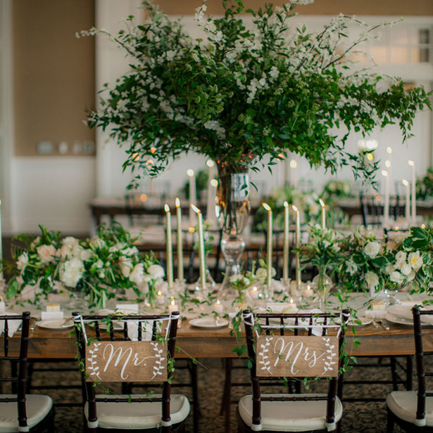 Greenery Filled Wedding Decor - Clane Gessel Photography