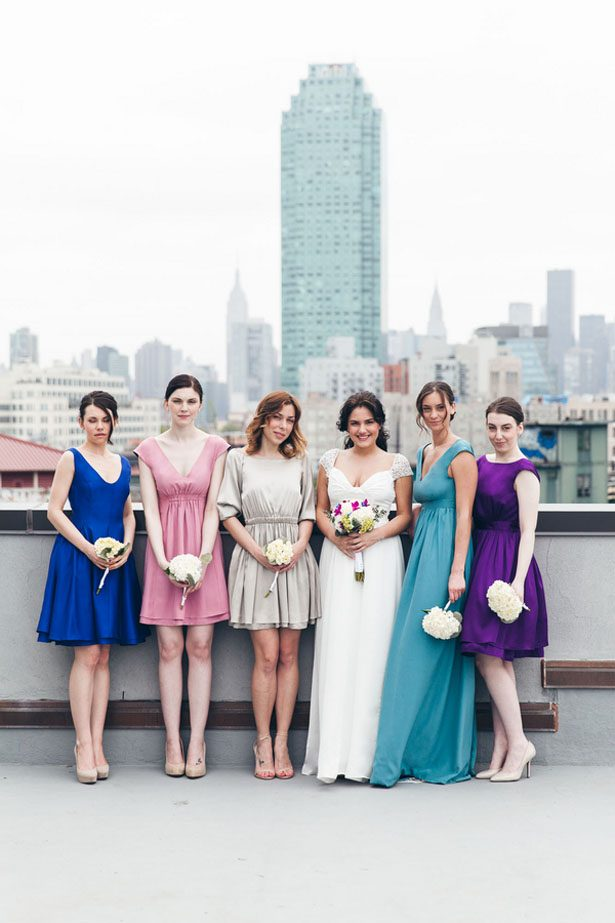 City Glam Wedding Inspiration with Reversible Bridesmaid Dresses