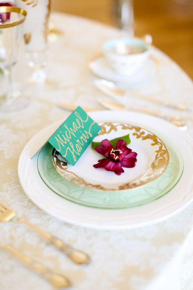 Elegant wedding plates - Sarah Goodwin Photography