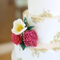 Gold detailed wedding cake - Sarah Goodwin Photography