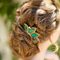 Green wedding headpiece - Sarah Goodwin Photography
