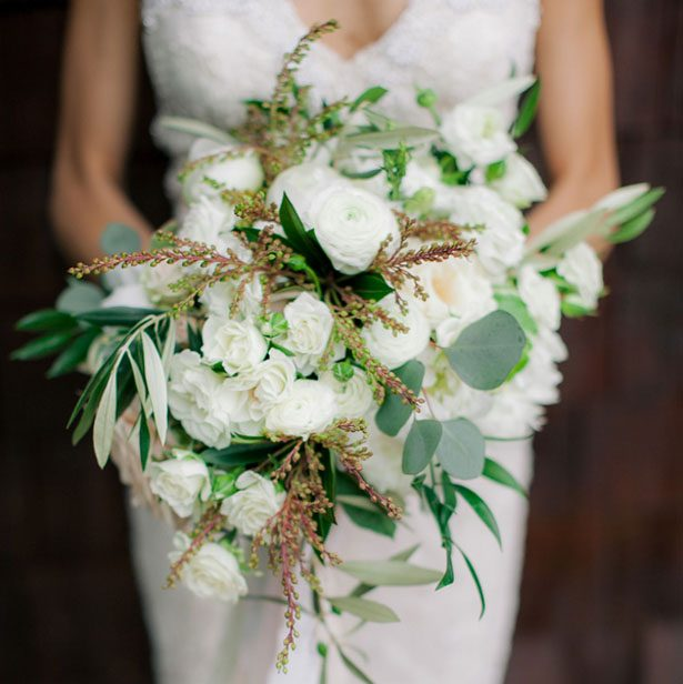 White bridal bouquet - Clane Gessel Photography