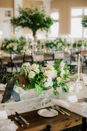 White floral wedding centerpiece - Clane Gessel Photography