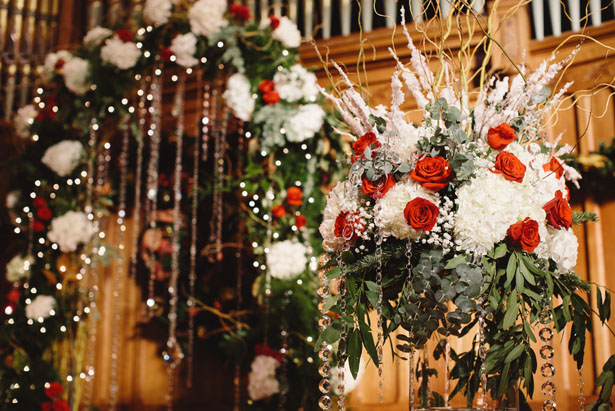 Christmas wedding ceremony decorations - Jennifer Van Elk Photography