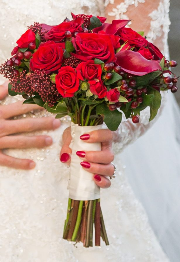 Red Wedding Bouquet - Cameo Photography