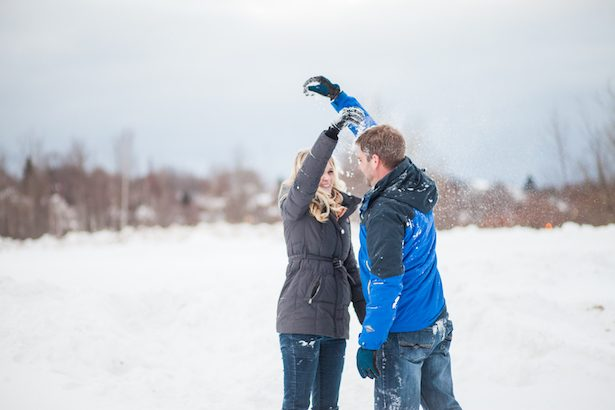 Snow Fight Engagement Photo - Wren Photography