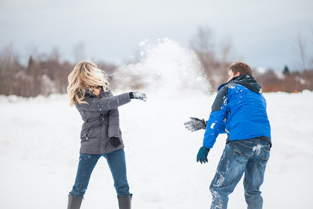 Snowball Fight Engagement Picture Winter Engagement Session - Wren Photography