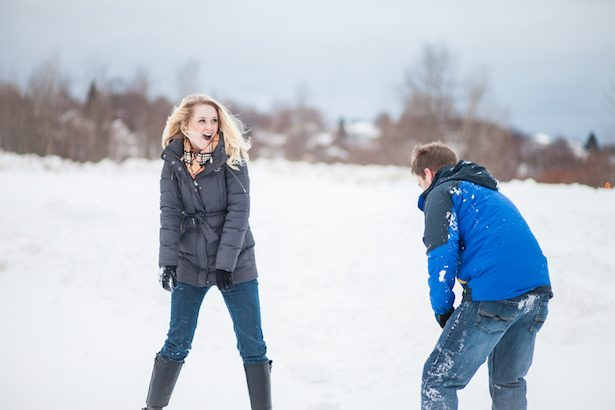 Snow Fight Engagement Session - Wren Photography