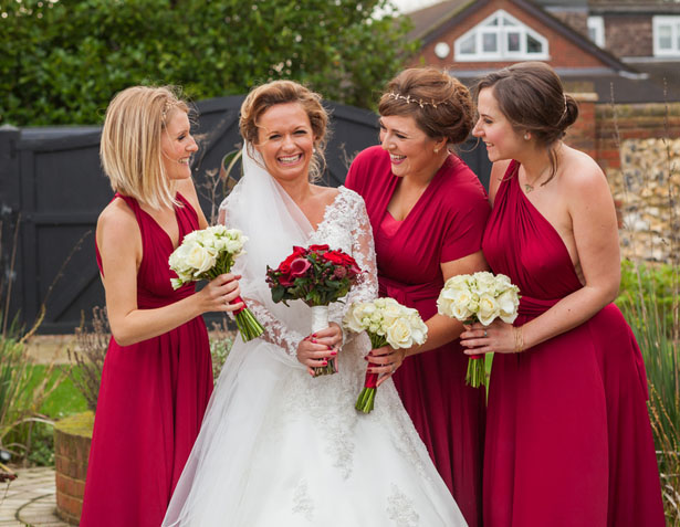 Red Convertible Bridesmaid Dresss - Cameo Photography