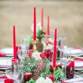 Red and Greenery wedding centerpiece - Dani Cowan Photography