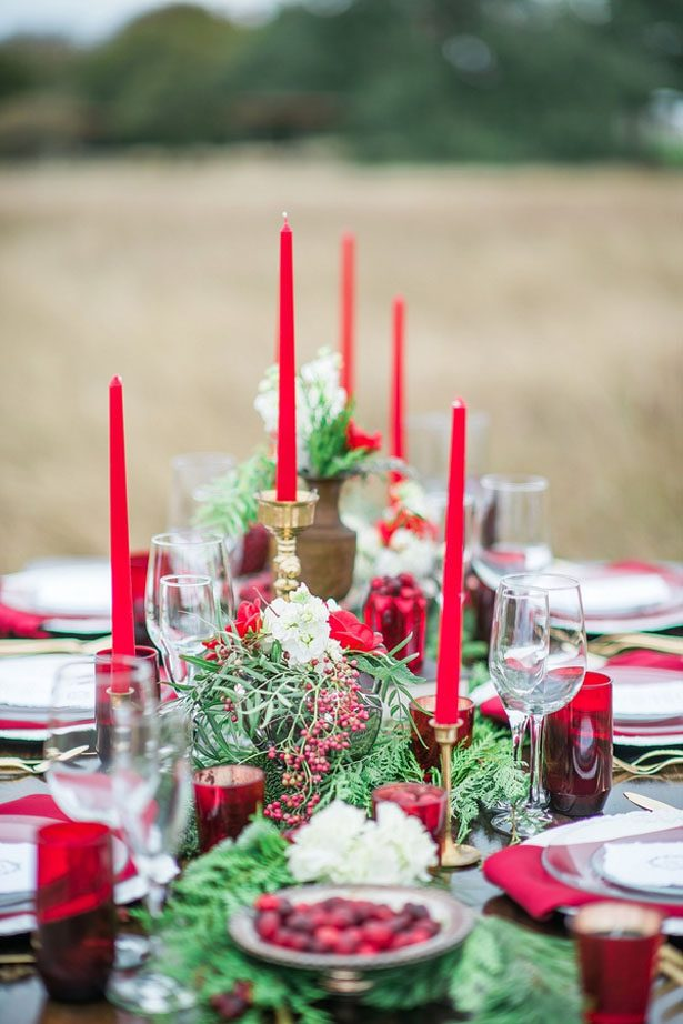 Red and Greenery Holiday Wedding Ideas